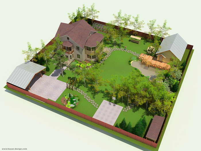 Ландшафтный дизайн квадратного участка